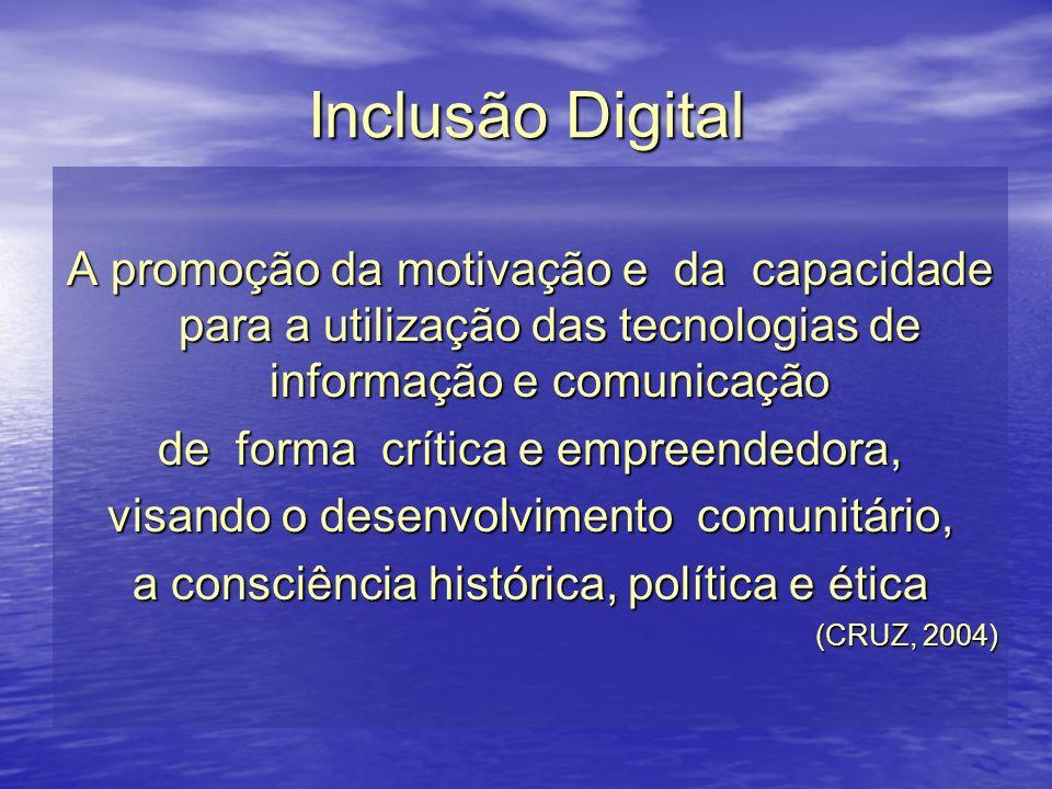 Inclusão Digital A promoção da motivação e da capacidade para a utilização das tecnologias de informação e comunicação.