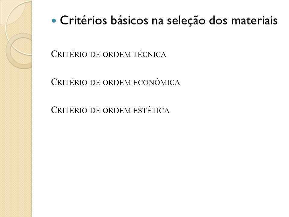 Critérios básicos na seleção dos materiais