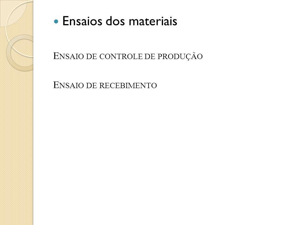 Ensaios dos materiais Ensaio de controle de produção