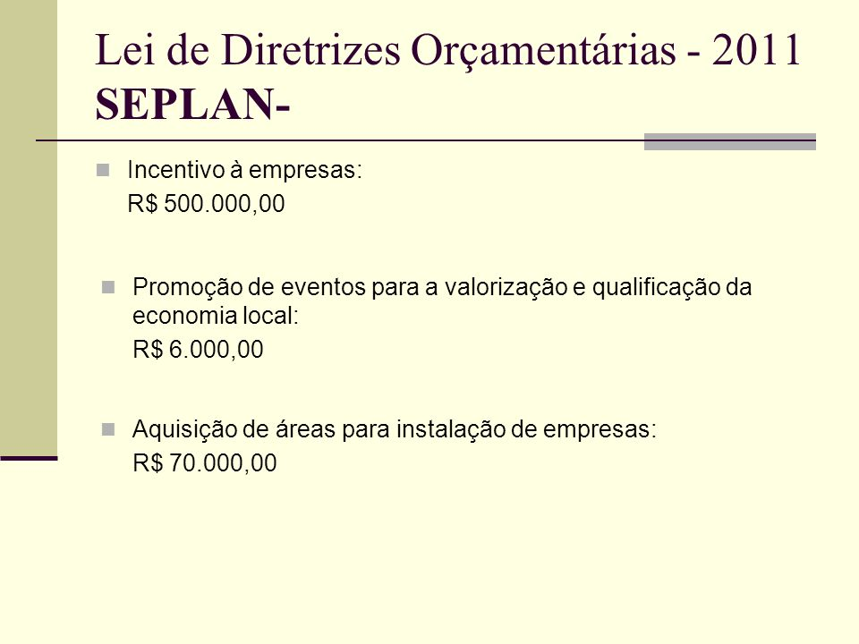 Lei de Diretrizes Orçamentárias - 2011 SEPLAN-