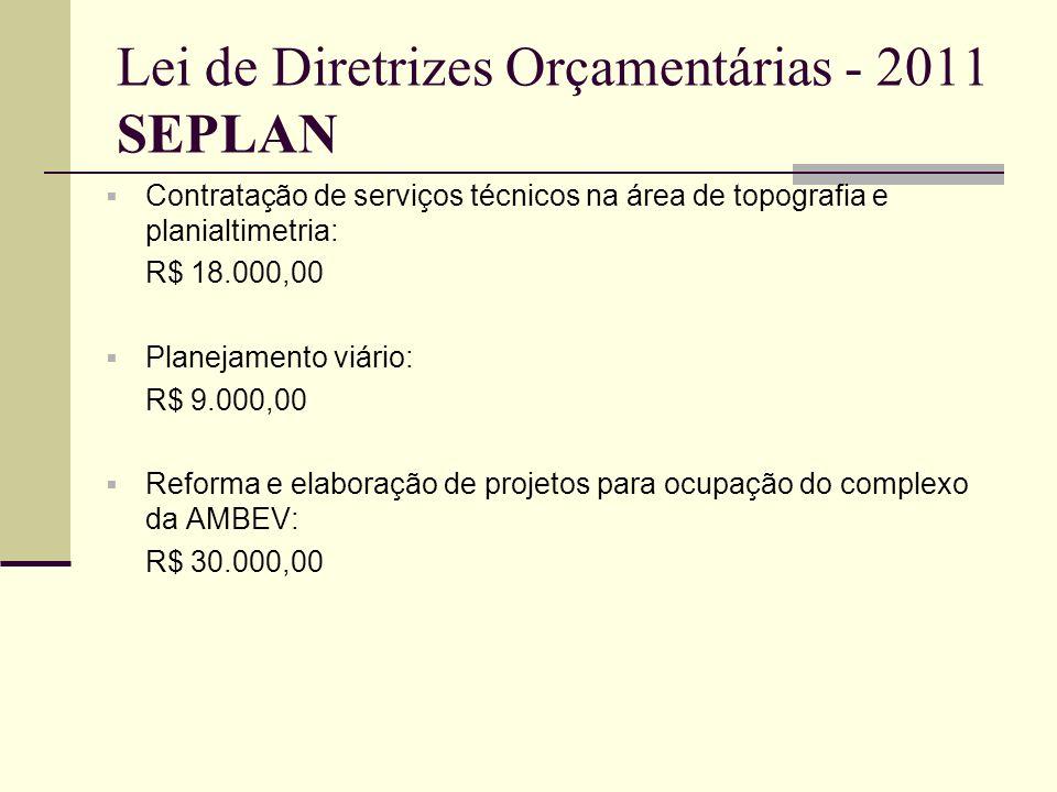 Lei de Diretrizes Orçamentárias - 2011 SEPLAN