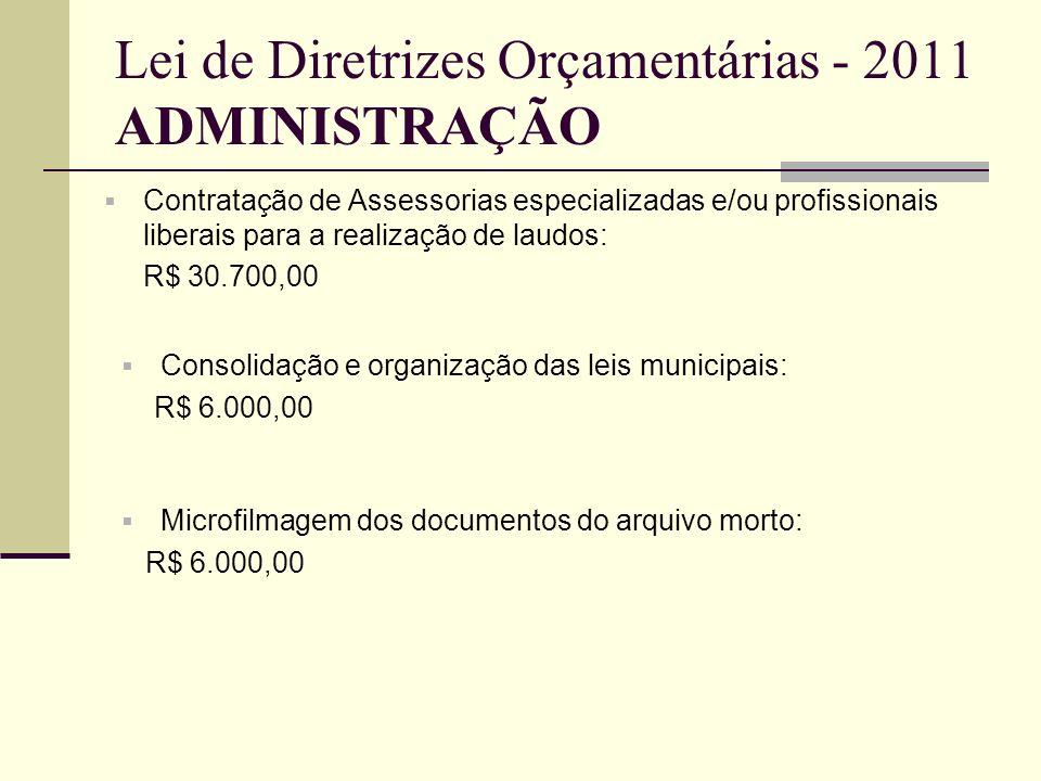 Lei de Diretrizes Orçamentárias - 2011 ADMINISTRAÇÃO
