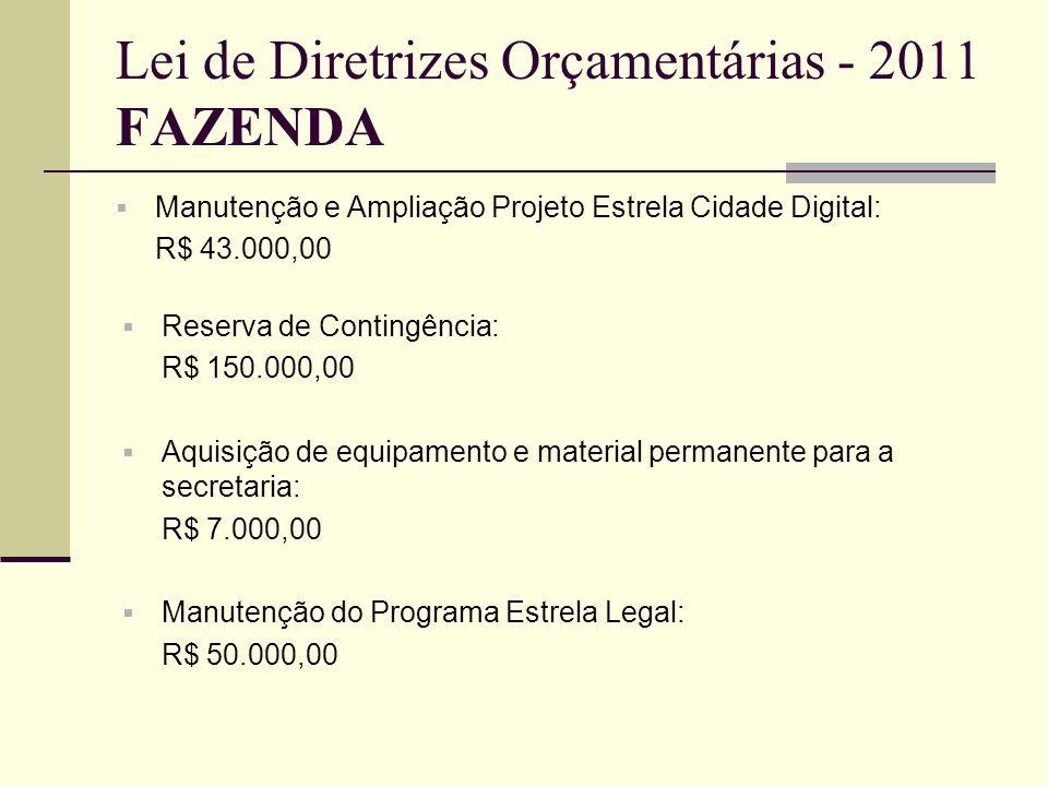 Lei de Diretrizes Orçamentárias - 2011 FAZENDA
