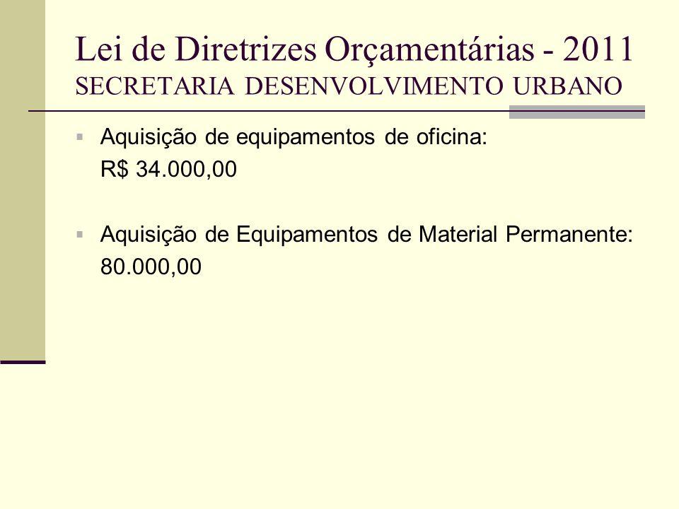 Lei de Diretrizes Orçamentárias - 2011 SECRETARIA DESENVOLVIMENTO URBANO