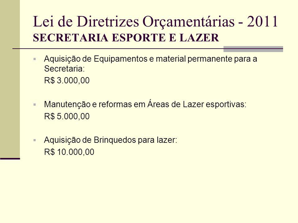 Lei de Diretrizes Orçamentárias - 2011 SECRETARIA ESPORTE E LAZER