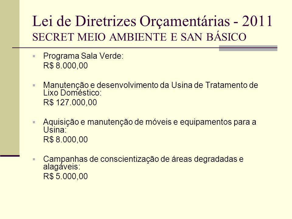 Lei de Diretrizes Orçamentárias - 2011 SECRET MEIO AMBIENTE E SAN BÁSICO