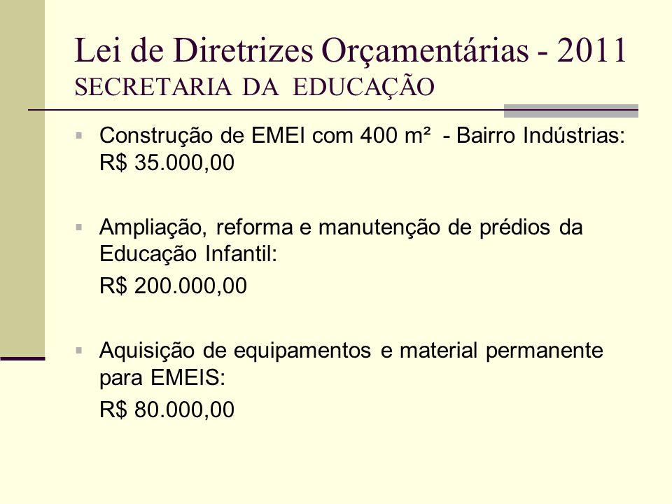Lei de Diretrizes Orçamentárias - 2011 SECRETARIA DA EDUCAÇÃO