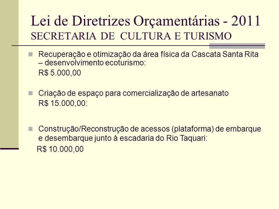 Lei de Diretrizes Orçamentárias - 2011 SECRETARIA DE CULTURA E TURISMO