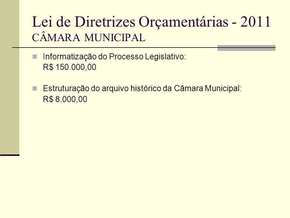 Lei de Diretrizes Orçamentárias - 2011 CÂMARA MUNICIPAL