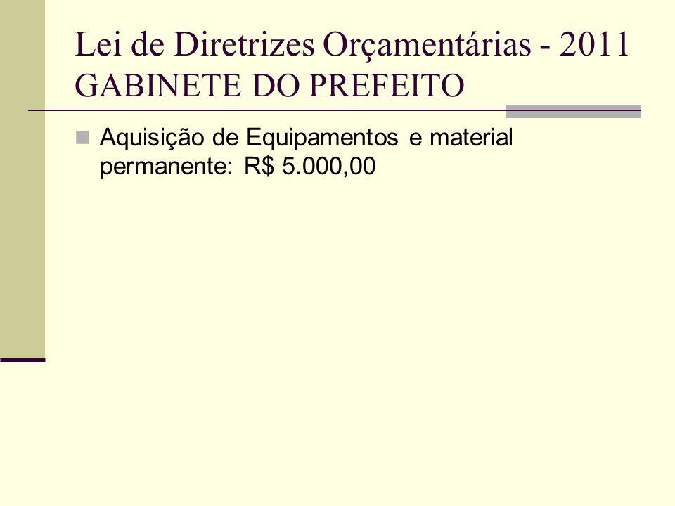Lei de Diretrizes Orçamentárias - 2011 GABINETE DO PREFEITO