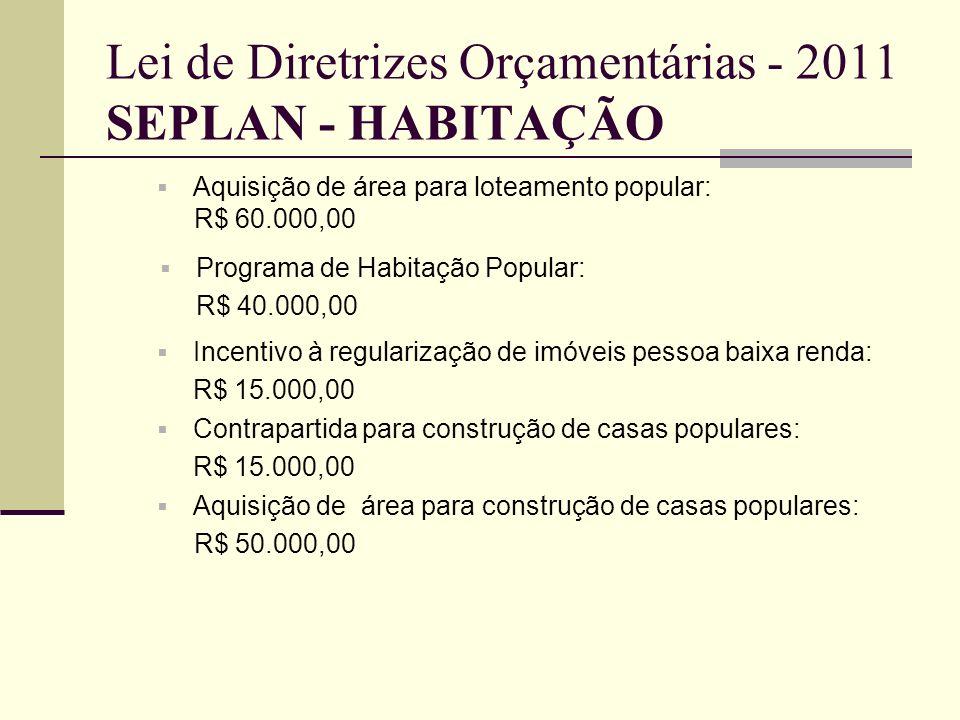 Lei de Diretrizes Orçamentárias - 2011 SEPLAN - HABITAÇÃO