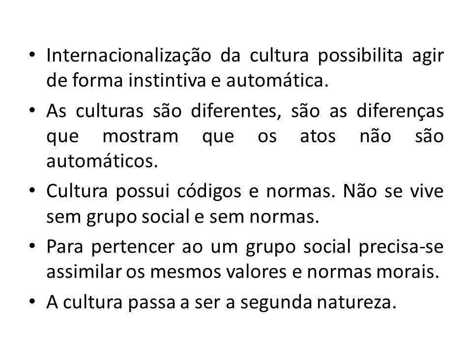 Internacionalização da cultura possibilita agir de forma instintiva e automática.