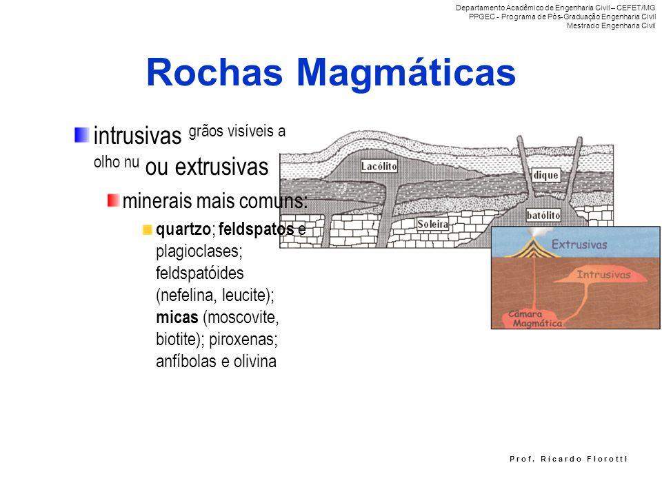 Rochas Magmáticas intrusivas grãos visíveis a olho nu ou extrusivas