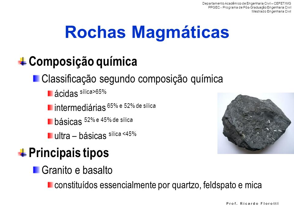 Rochas Magmáticas Composição química Principais tipos