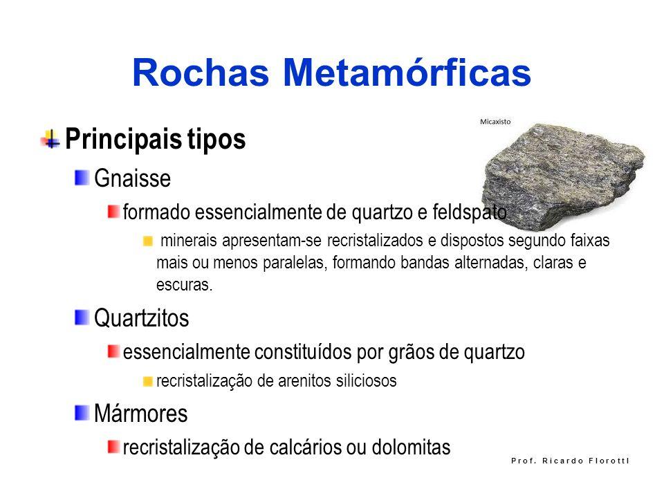 Rochas Metamórficas Principais tipos Gnaisse Quartzitos Mármores