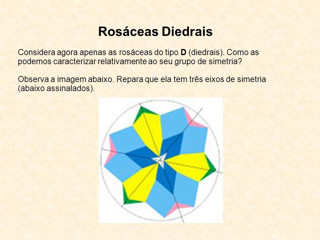 Rosáceas Diedrais Considera agora apenas as rosáceas do tipo D (diedrais). Como as podemos caracterizar relativamente ao seu grupo de simetria