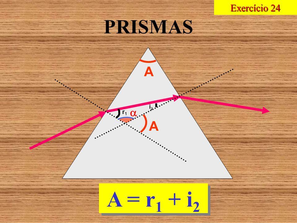 Exercício 24 PRISMAS A i2  r1 A A = r1 + i2
