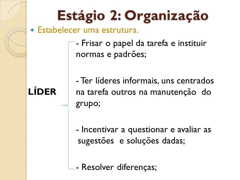 Estágio 2: Organização Estabelecer uma estrutura.