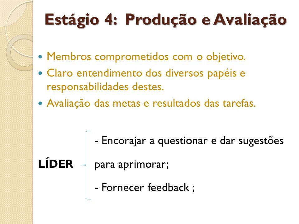 Estágio 4: Produção e Avaliação