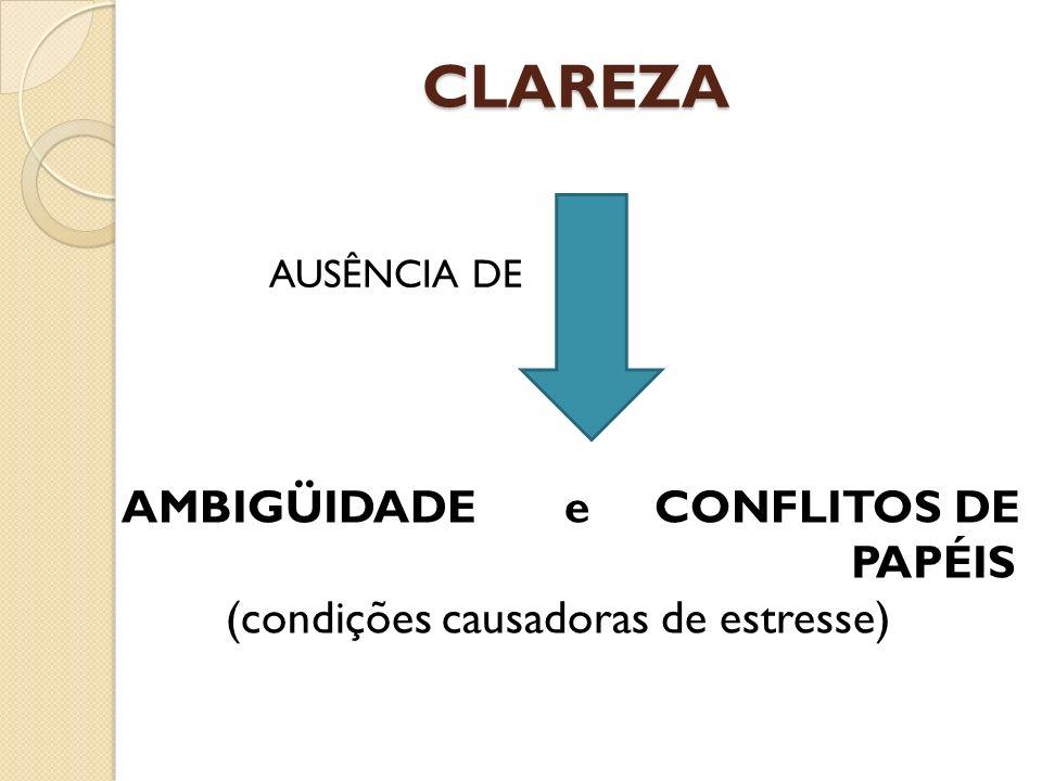 CLAREZA AMBIGÜIDADE e CONFLITOS DE PAPÉIS