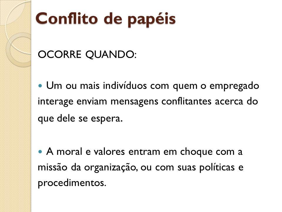 Conflito de papéis OCORRE QUANDO: