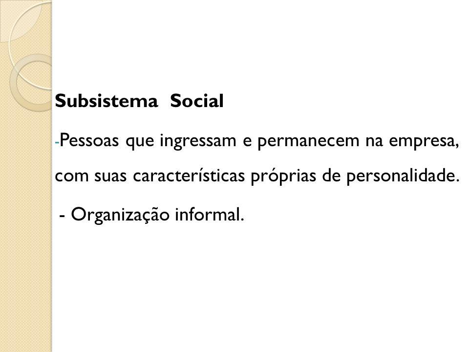 Subsistema Social Pessoas que ingressam e permanecem na empresa, com suas características próprias de personalidade.