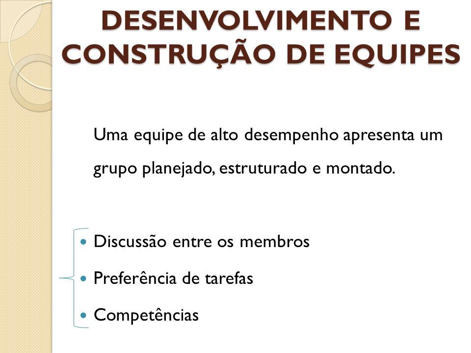 DESENVOLVIMENTO E CONSTRUÇÃO DE EQUIPES