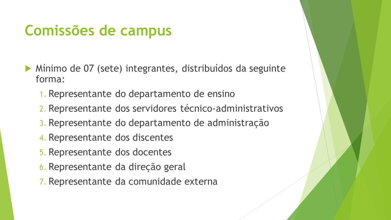 Comissões de campusMínimo de 07 (sete) integrantes, distribuídos da seguinte forma: Representante do departamento de ensino.