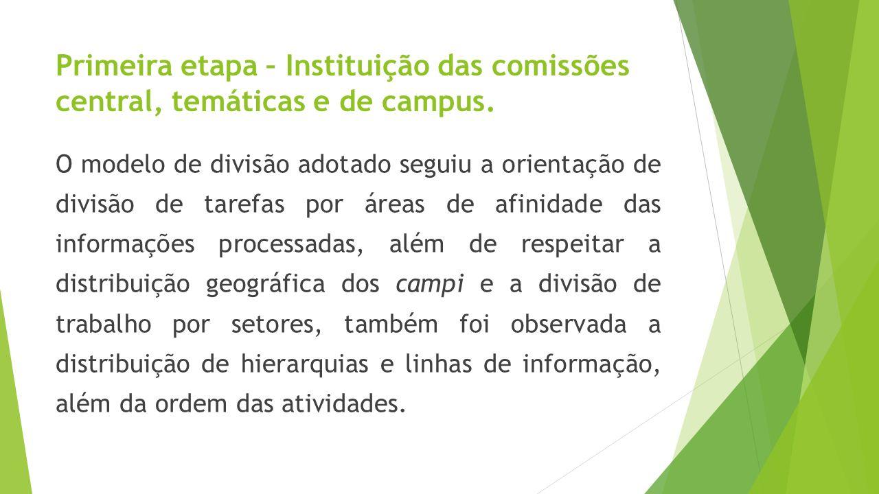 Primeira etapa – Instituição das comissões central, temáticas e de campus.