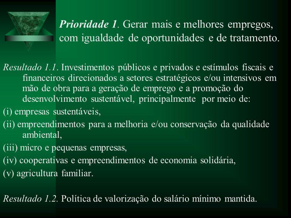 Prioridade 1. Gerar mais e melhores empregos, com igualdade de oportunidades e de tratamento.