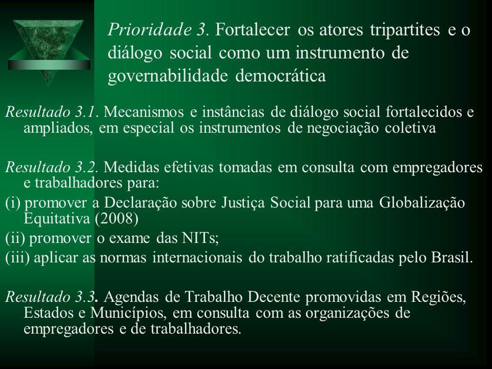 Prioridade 3. Fortalecer os atores tripartites e o diálogo social como um instrumento de governabilidade democrática