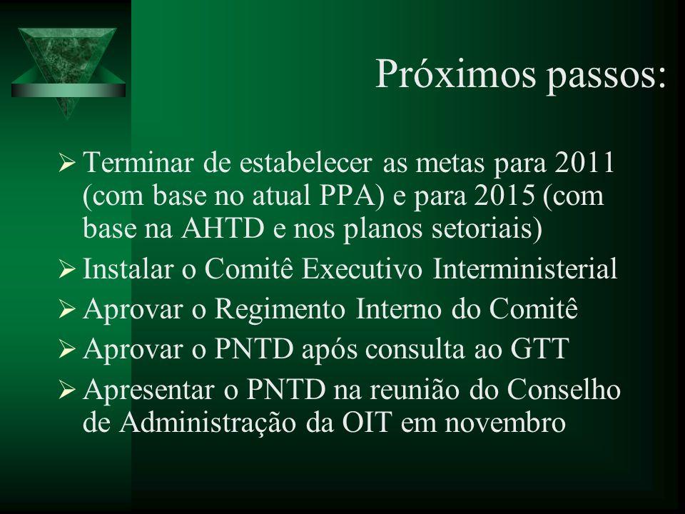 Próximos passos: Terminar de estabelecer as metas para 2011 (com base no atual PPA) e para 2015 (com base na AHTD e nos planos setoriais)