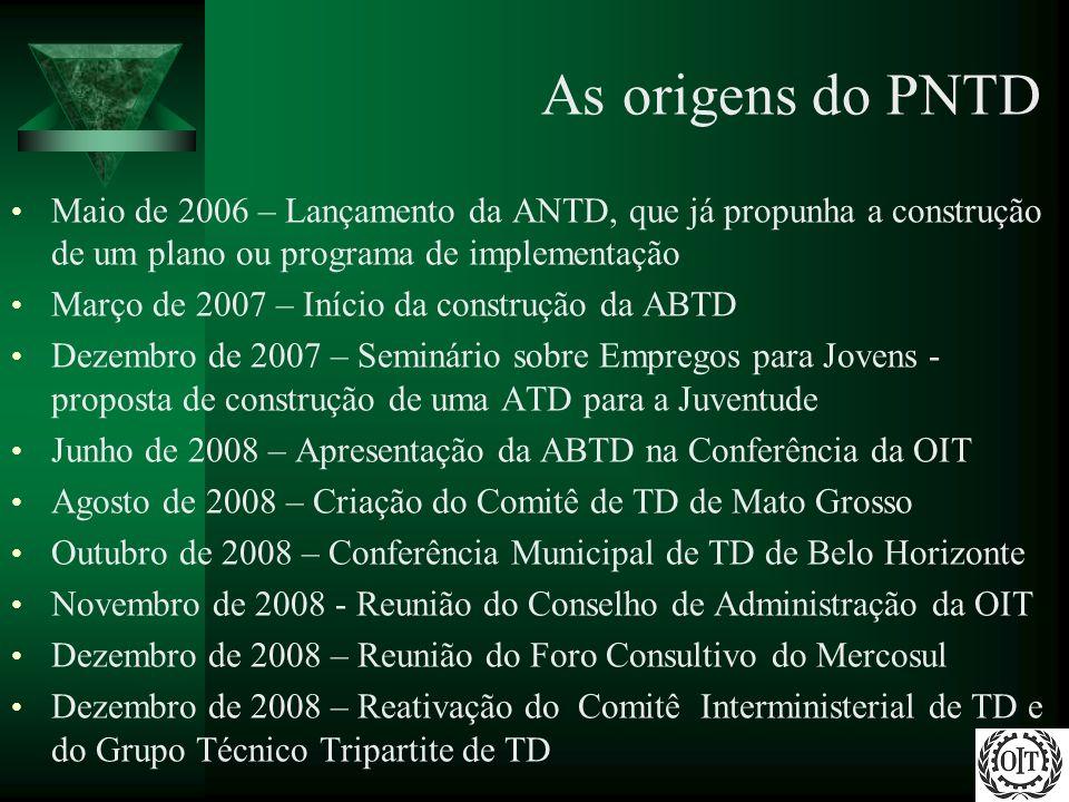 As origens do PNTD Maio de 2006 – Lançamento da ANTD, que já propunha a construção de um plano ou programa de implementação.