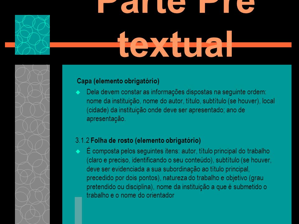 Parte Pré textual Capa (elemento obrigatório)