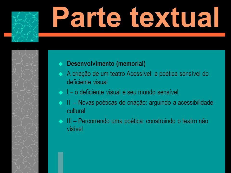Parte textual Desenvolvimento (memorial)