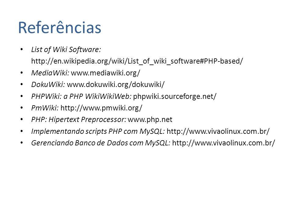Referências List of Wiki Software: