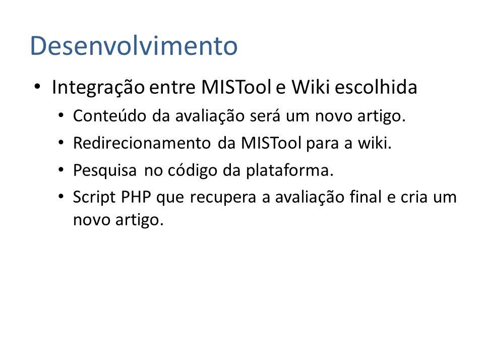 Desenvolvimento Integração entre MISTool e Wiki escolhida
