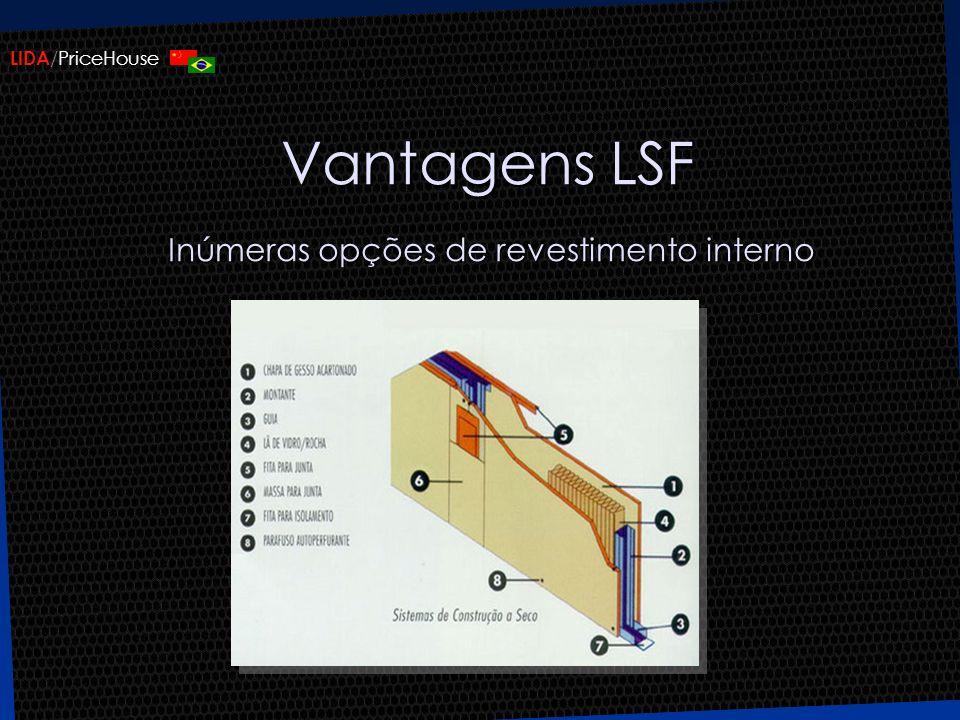 Vantagens LSF Inúmeras opções de revestimento interno