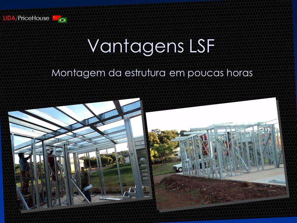 Vantagens LSF Montagem da estrutura em poucas horas