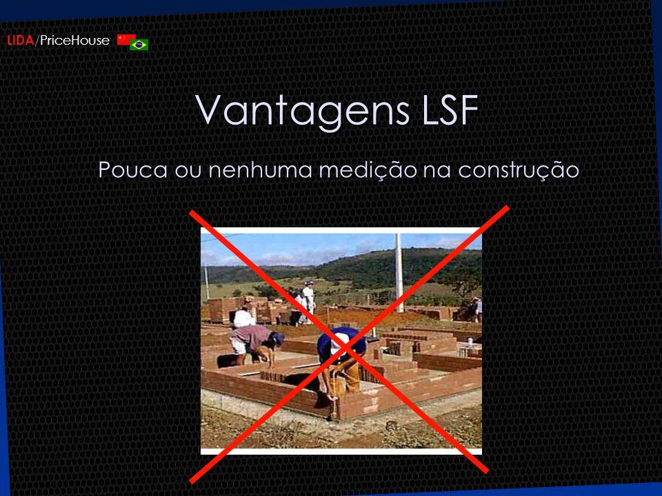 Vantagens LSF Pouca ou nenhuma medição na construção
