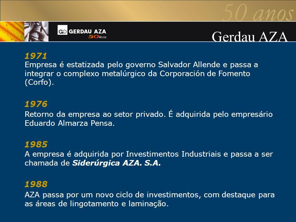 Gerdau AZA 1971. Empresa é estatizada pelo governo Salvador Allende e passa a integrar o complexo metalúrgico da Corporación de Fomento (Corfo).