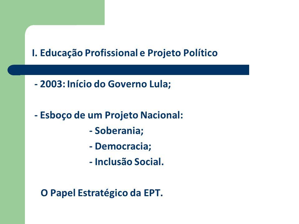 I. Educação Profissional e Projeto Político