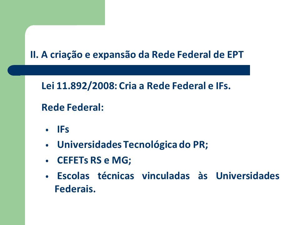 II. A criação e expansão da Rede Federal de EPT