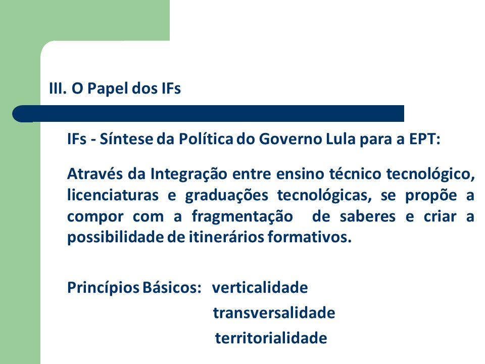 III. O Papel dos IFs IFs - Síntese da Política do Governo Lula para a EPT: