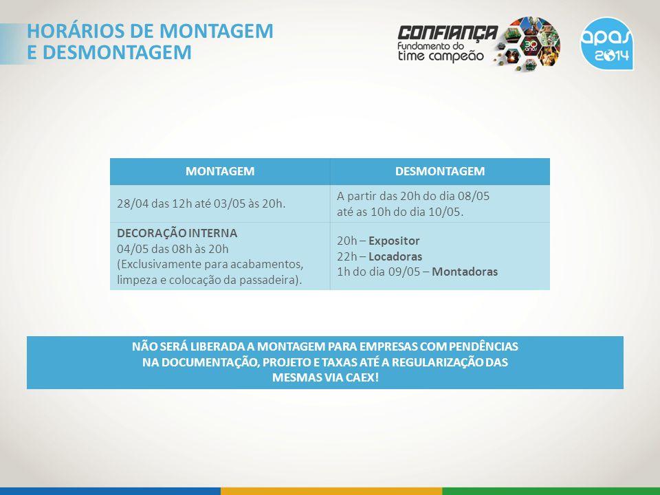 HORÁRIOS DE MONTAGEM E DESMONTAGEM