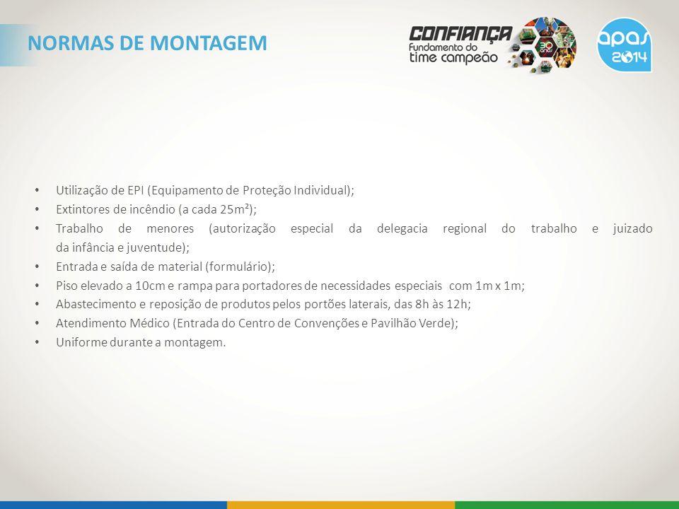 NORMAS DE MONTAGEM Utilização de EPI (Equipamento de Proteção Individual); Extintores de incêndio (a cada 25m²);