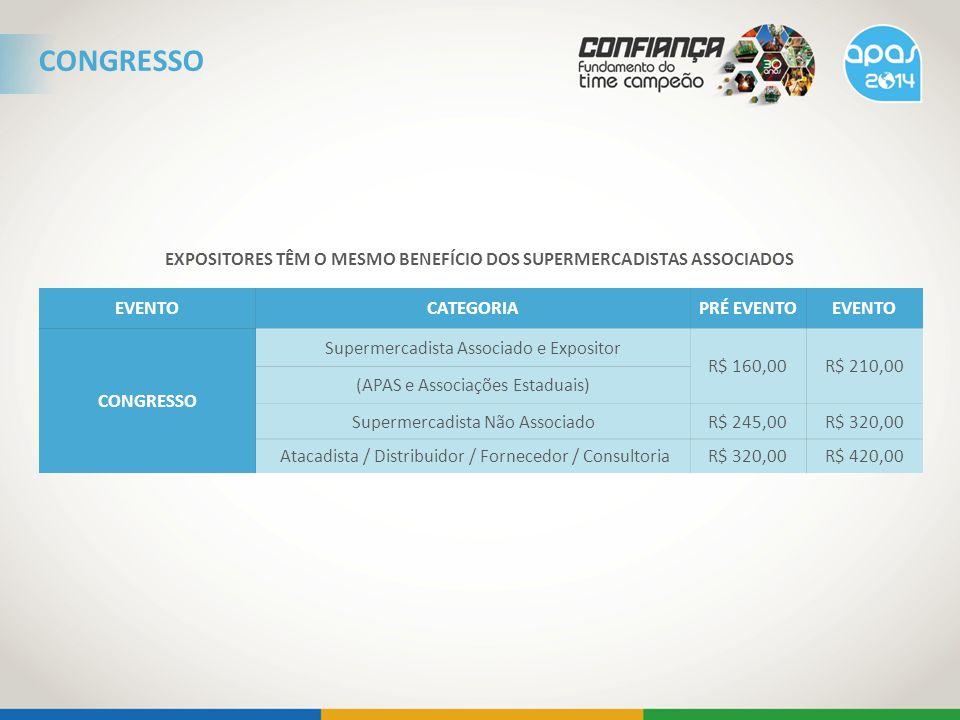 EXPOSITORES TÊM O MESMO BENEFÍCIO DOS SUPERMERCADISTAS ASSOCIADOS