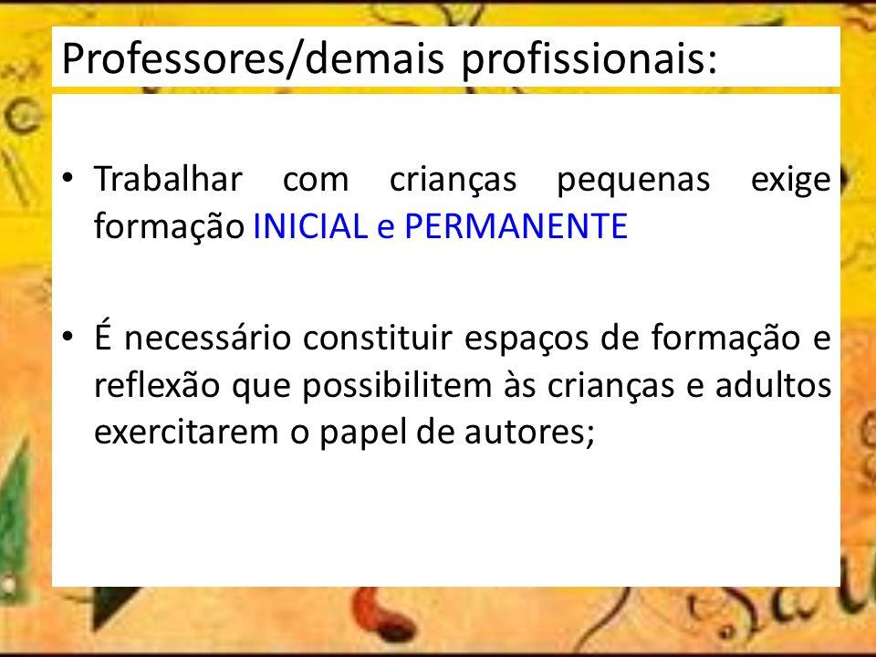 Professores/demais profissionais: