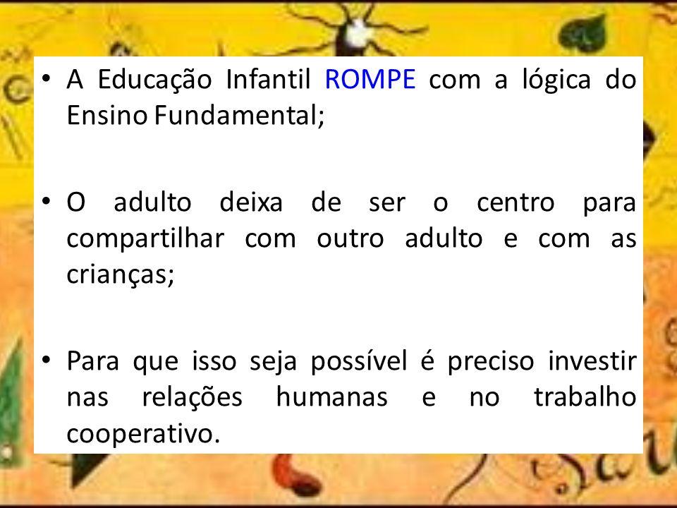 A Educação Infantil ROMPE com a lógica do Ensino Fundamental;
