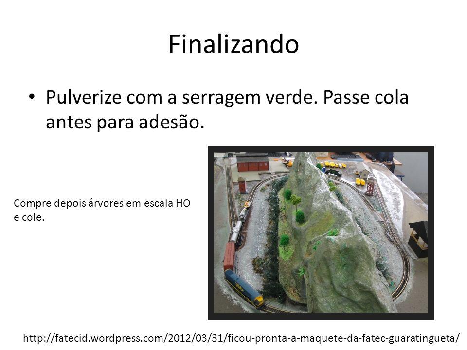 Finalizando Pulverize com a serragem verde. Passe cola antes para adesão. Compre depois árvores em escala HO e cole.